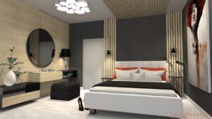 Návrh malé ložnice bytového domu.