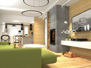 3D vizualizace obývacího pokoje , kuchyně - změna dispozice .